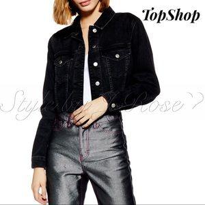 NWT's TopShop Crop Denim Jacket in Washed Black
